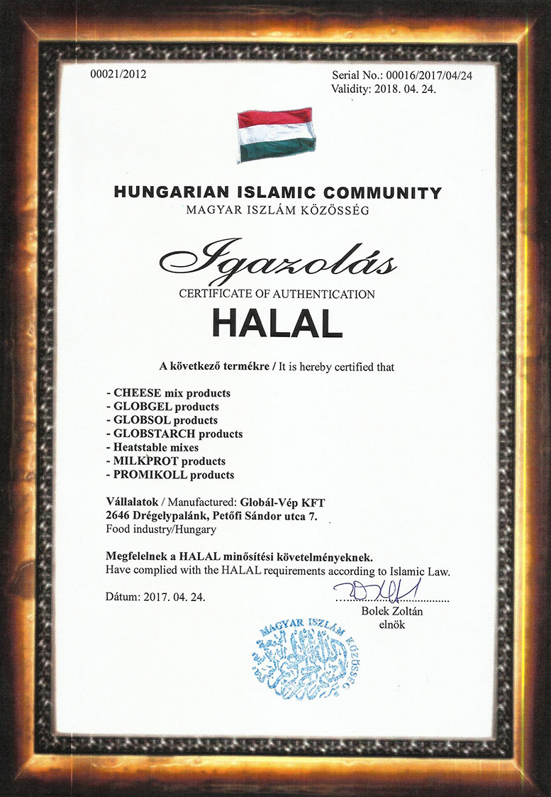 Halal-certificate - Halal tanúsítvánnyal rendelkező cégek